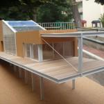 Vista Sud Del Modello Architettonico Con Copertura Inclinata Fotovoltaica