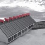 Vista Sud Edificio Con Copertura Fotovoltaica E Corpo Dei Servizi Affiancato.